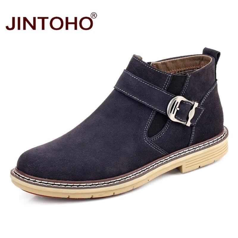 JINTOHO 2018 冬の靴ファッションブランドメンズ本革ブーツカジュアル男性レザーブーツ男性本革の靴  グループ上の 靴 からの ベーシックブーツ の中 1
