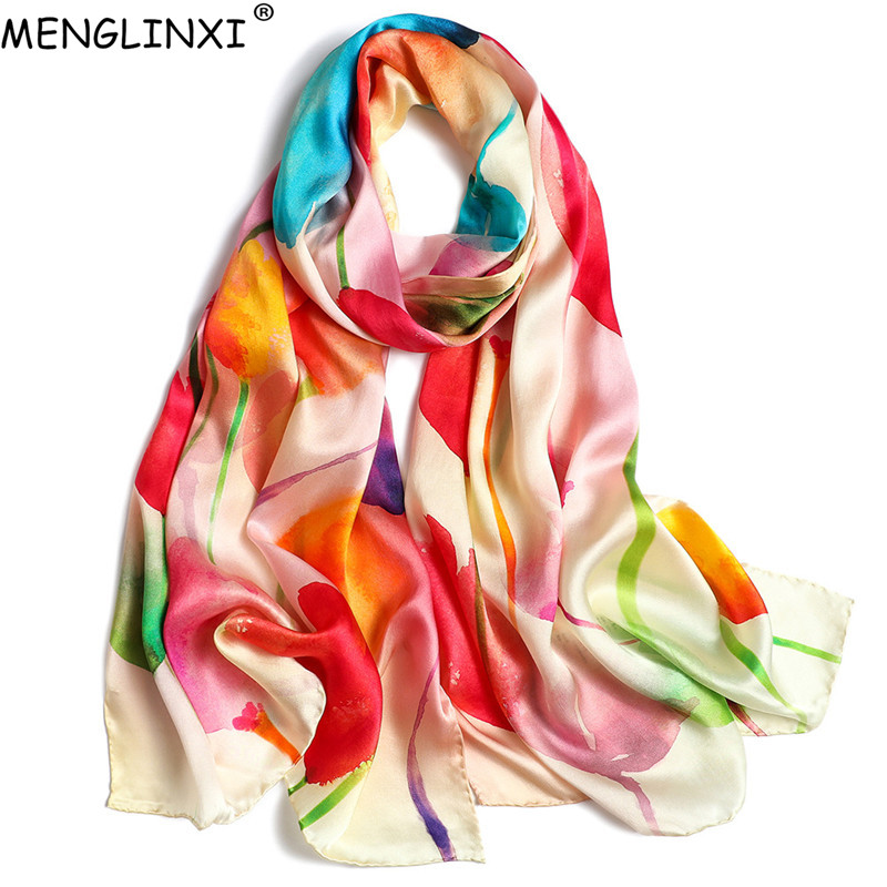 2019 New 100% Silk   Scarf   Pure Silk Spring   Scarf   Shawl Natural Silk Hand-rolled Edges   Scarf   For Women Fashion Luxury   Scarves     Wrap