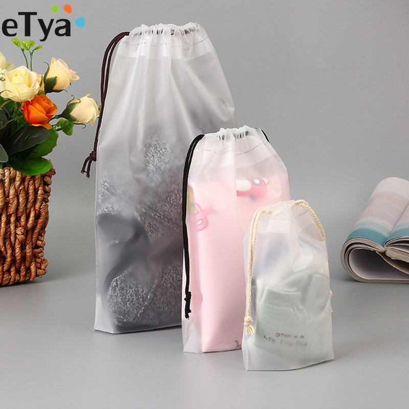 ETya 1PCS PVC Drawstring Travel Toiletry Towel Cosmetic Make Up Bag Organizer Set Pouch Case Women Cloth Underwear Bag