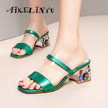 AIKELINYU Fashion Women Coloured Drill Heels Sandals Open-toed Coarse Heel Slipper Womens Rhinestone Slippers Lady Pumps Green