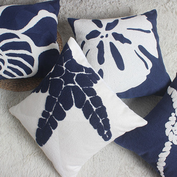 Home Decor Emboridered Cushion Cover Navy Starfish Shell Canvas Pillow Case Cotton Suqare Embroidery Pillow Cover 45x45cm