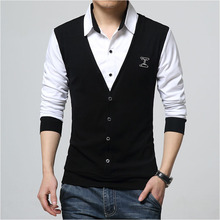 2018 New Autumn Fashion Patch Design Men's Shirt T-shirt Fake Two Long Sleeve Turn-down Collar Cotton T Shirt for Men 5XL