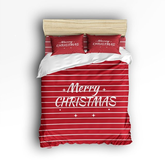 4 Piece Bed Sheets Set White Script Merry Christmas On Red White