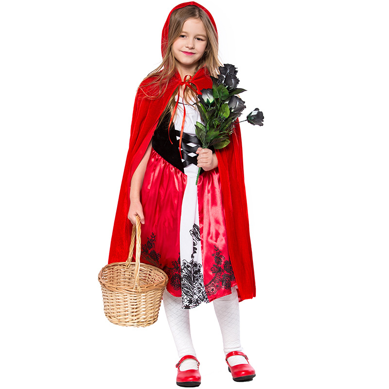 Children Little Red Riding Hood Dress With Hooded Cape Set Costumes Cosplay For Girl Halloween Birthday Party Cosplay