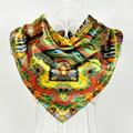 Accesorios de las mujeres Patrón Clásico Cuadrado de Seda Bufandas Impreso Moda de Invierno Mantener Caliente Decoración de la Bufanda de Seda Del Mantón de La Bufanda
