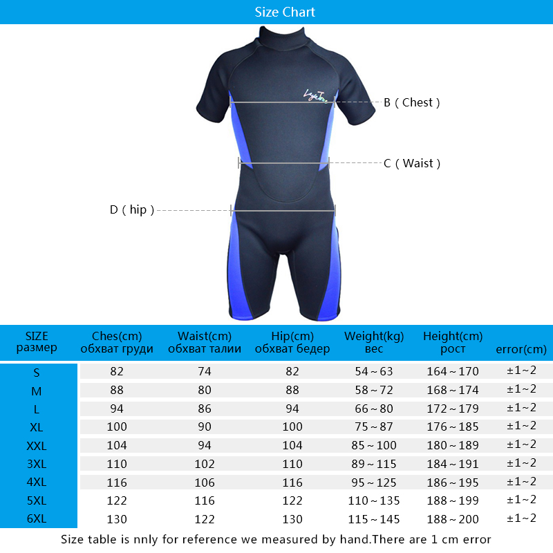B1619 wetsuit sizetable new