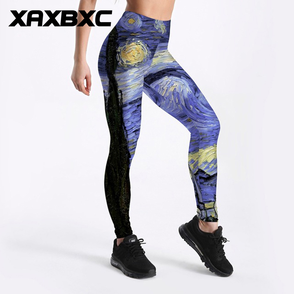 XAXBXC 3011 Sexy Girl Pant Van Gogh Art Painting The Starry Night Prints Elastic Slim Fitness Workout Women Leggings Plus Size