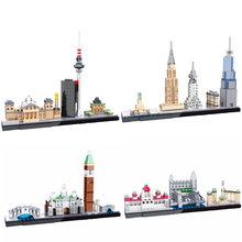 цена 2019 NEW HSANHE Architecture World Famous Skyline Building Blocks Kit City Bricks Classic Model Kids Toys Gifts онлайн в 2017 году