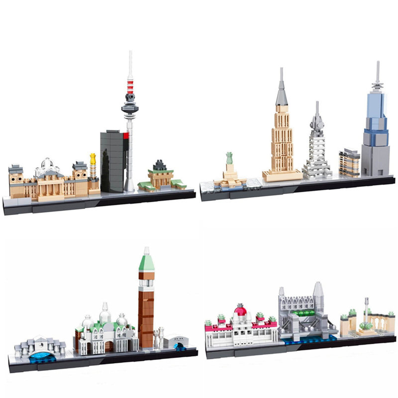 HSANHE Architecture World Famous Skyline Building Blocks Kit City Bricks Classic Model Kids Toys Gifts Compatible Legoings single sale pirate suit batman bruce wayne classic tv batcave super heroes minifigures model building blocks kids toys gifts