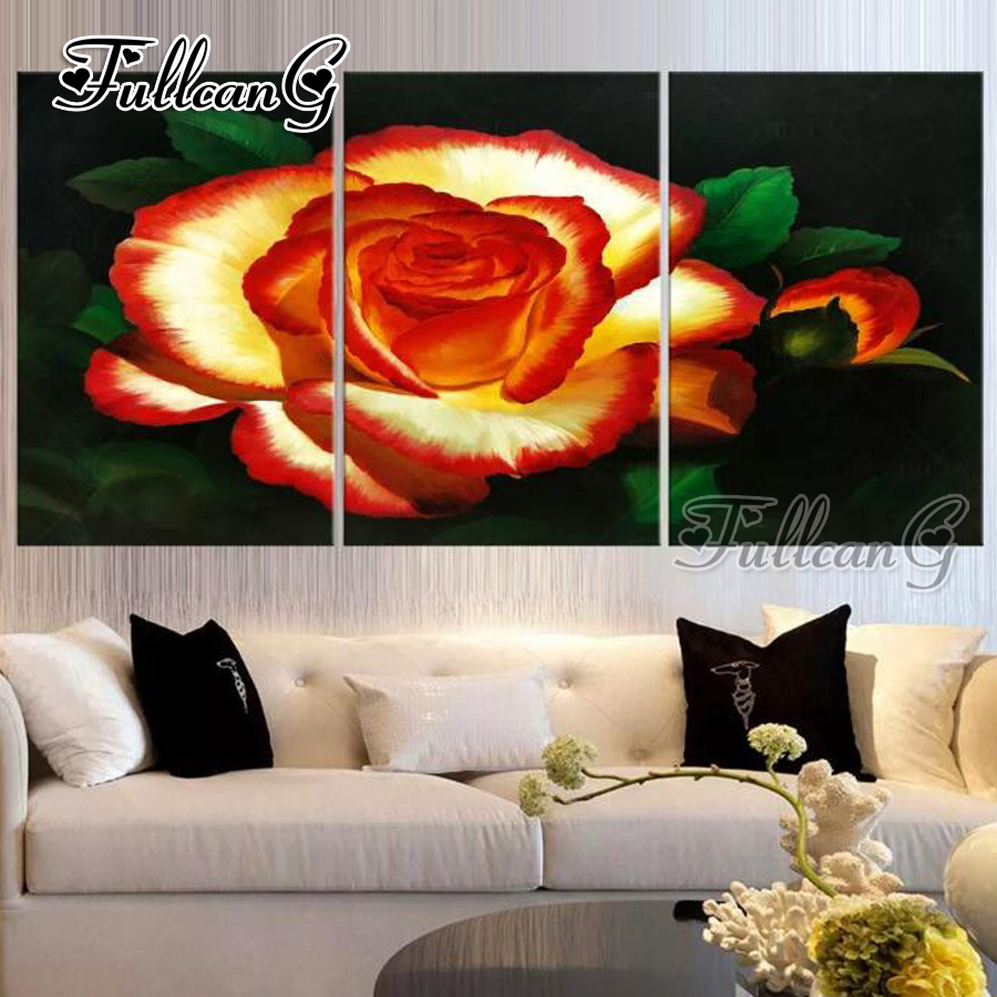 FULLCANG diy 3pcs diamond embroidery quot red rose flowers quot painting full drill 5d cross stitch mosaic pattern handicraft G1320 in Diamond Painting Cross Stitch from Home amp Garden