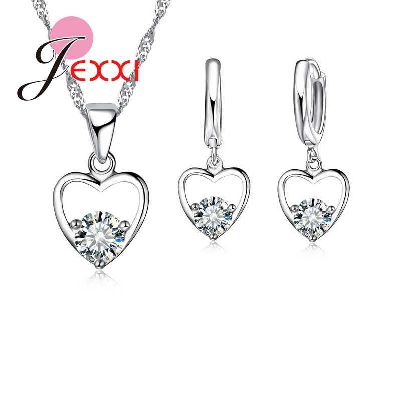 Mode CZ Zirkon 925 Serling Silber Schmuck Set Halskette & Ohrringe & Anhänger Ziemlich Liebe Herz Mode Design Sets