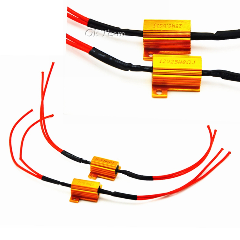 2pcs HID 25W 8 OHM LED Signal Turn Controllers Lights Lamp Fix Blinker Load Resistors Turn Signal resistance 12v 3 pins adjustable frequency led flasher relay motorcycle turn signal indicator motorbike fix blinker indicator p34