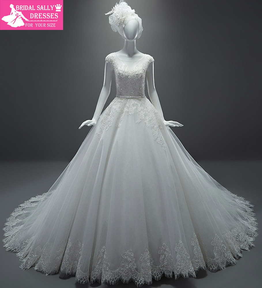 real sample wedding dresses a line see through cap sleeves sash chapel train lace wedding dress vestido de casamento
