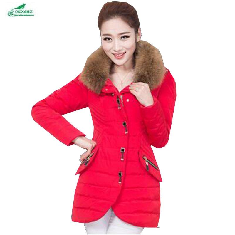 OKXGNZ Women winter coats 2017 New Fashion Big yards Pure Color Hooded Collars Coat jacket Medium long tommy Cotton Jacket QQ023 casio g shock gravitymaster gw 3000m 4a