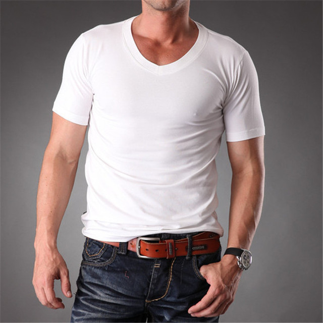 5a690fa6a97 RL Mens Body Muscle Fit Slim Fit Plain Blank t-shirts Men Stretchy White V  Neck Good Quality 2019 Summer Mens Clothes MT-1353
