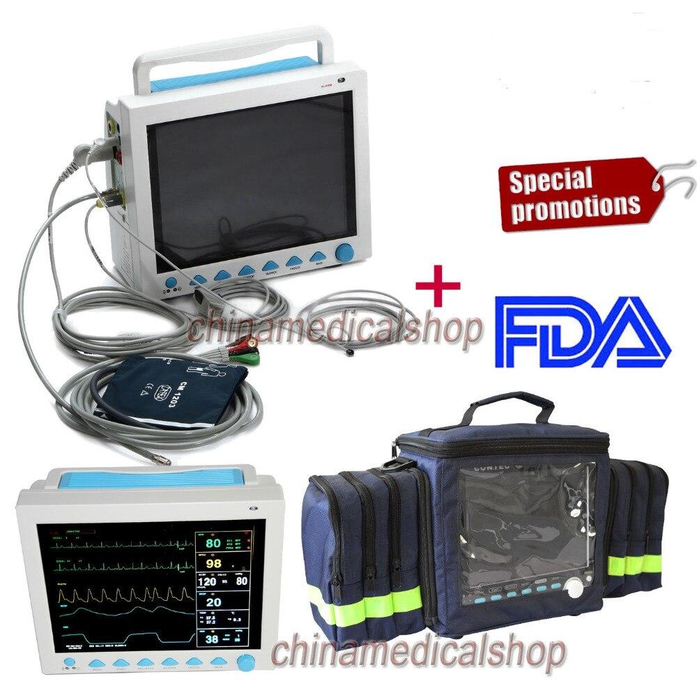 CE et FDA 12.1 ICU/CCU Multi-Paramètre Signes Vitaux Moniteur Patient CONTEC CMS8000 + sac
