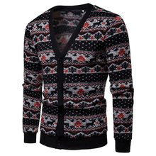 SHUJIN Casual Sweater Coat Men Fashion Christmas Printed Cardigan Sweaters Male Autumn V Neck Button Streetwear Mens Sweater(China)