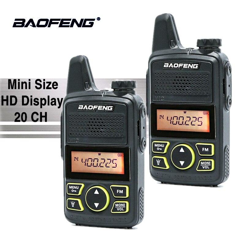 2 pz Baofeng BF-T1 Walkie Talkie UHF 400-470 mhz FM Bambini Transceiver Mini Radio Con Auricolare PTT Bambino a due Vie Radio Comunicador