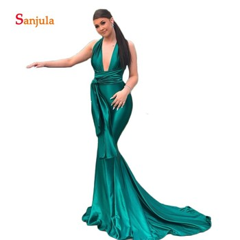 Deep V Front Sexy Mermaid Formal Evening Dresses Emerald Green Satin Evening Gowns Straps Cross Simple Long Night Party D832