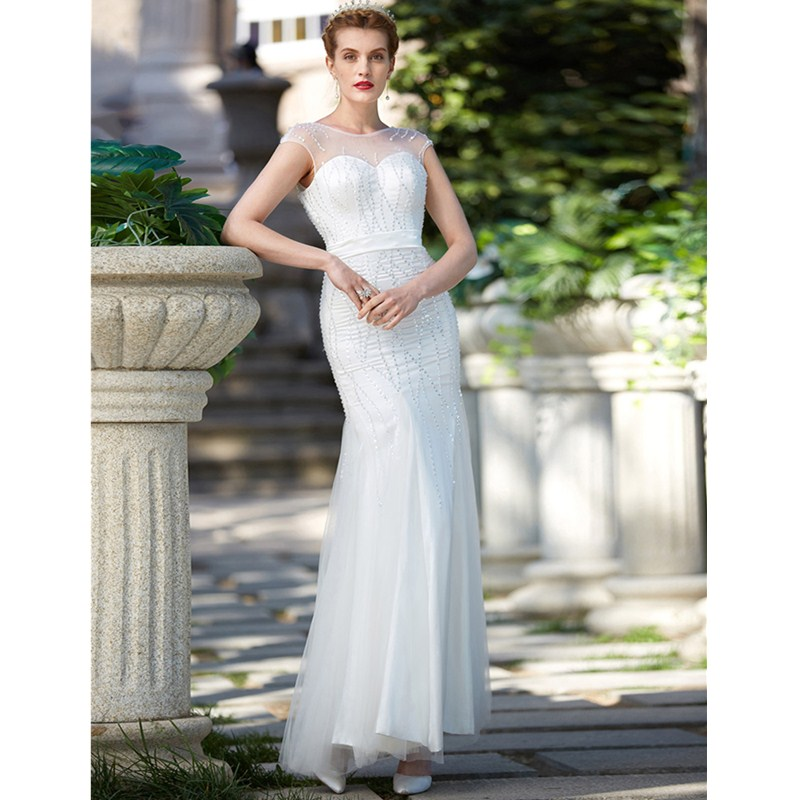 LAN TING BRIDE Mermaid / Trumpet Illusion Neckline Floor Length Tulle Wedding Dress with Beading Sequin Sash / Ribbon
