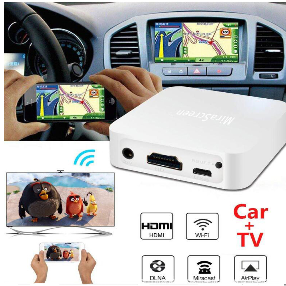 Mirascreen X7 Car Auto Media DLNA Miracast Airplay Screen Mirroring Dongle TV Stick Wireless HD AV Output Video Streamer Display