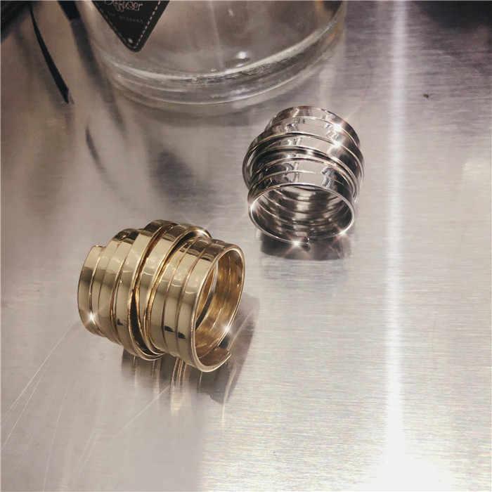 HUANZHI หลายบุคลิกภาพทองเงินสีโลหะเปิดแหวน Minimalist ออกแบบแหวนสำหรับผู้หญิงปาร์ตี้เครื่องประดับ