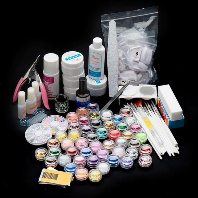 Realer 27 Acrylic Nail Art Tips Powder Liquid Brush Glitter Clipper Primer File Set Kit 00% Brand new in retail package Anne