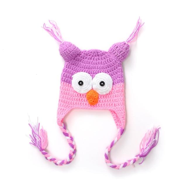 Tejido a mano lana búho bebé rosa púrpura del color Joker niño hecho ...