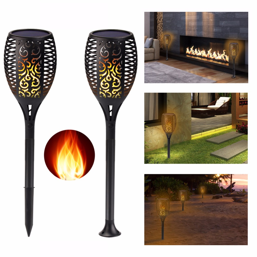 4Pcs New Solar Flame Light Solar Powered Flickering Lamp Solar LED Lamps Landscape Garden Lawn Decoration Outdoor/Indoor solar powered self recharged led white light lawn lamp 1 aa