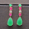 Elegant Charm Green Zircon Gold Plated Waterdrop Earring for Women Engagement Fashion Jewelry E04-2