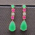Elegante Encanto Verde Chapado En Oro Circón Pendiente de Gota de agua para Las Mujeres de Compromiso Joyería de Moda E04-2