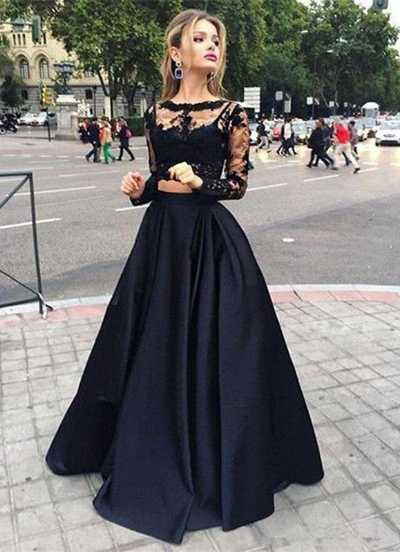 Black Robe De Soiree 2019 A-line Long Sleeves Satin Lace Two Pieces Sexy Long   Prom     Dresses     Prom   Gown Evening   Dresses