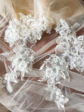 2  pieces/lot 3D tulle bridal lace applique pair with clear sequin silver thread , wedding gown bodice hair flower 15 x 30 cm