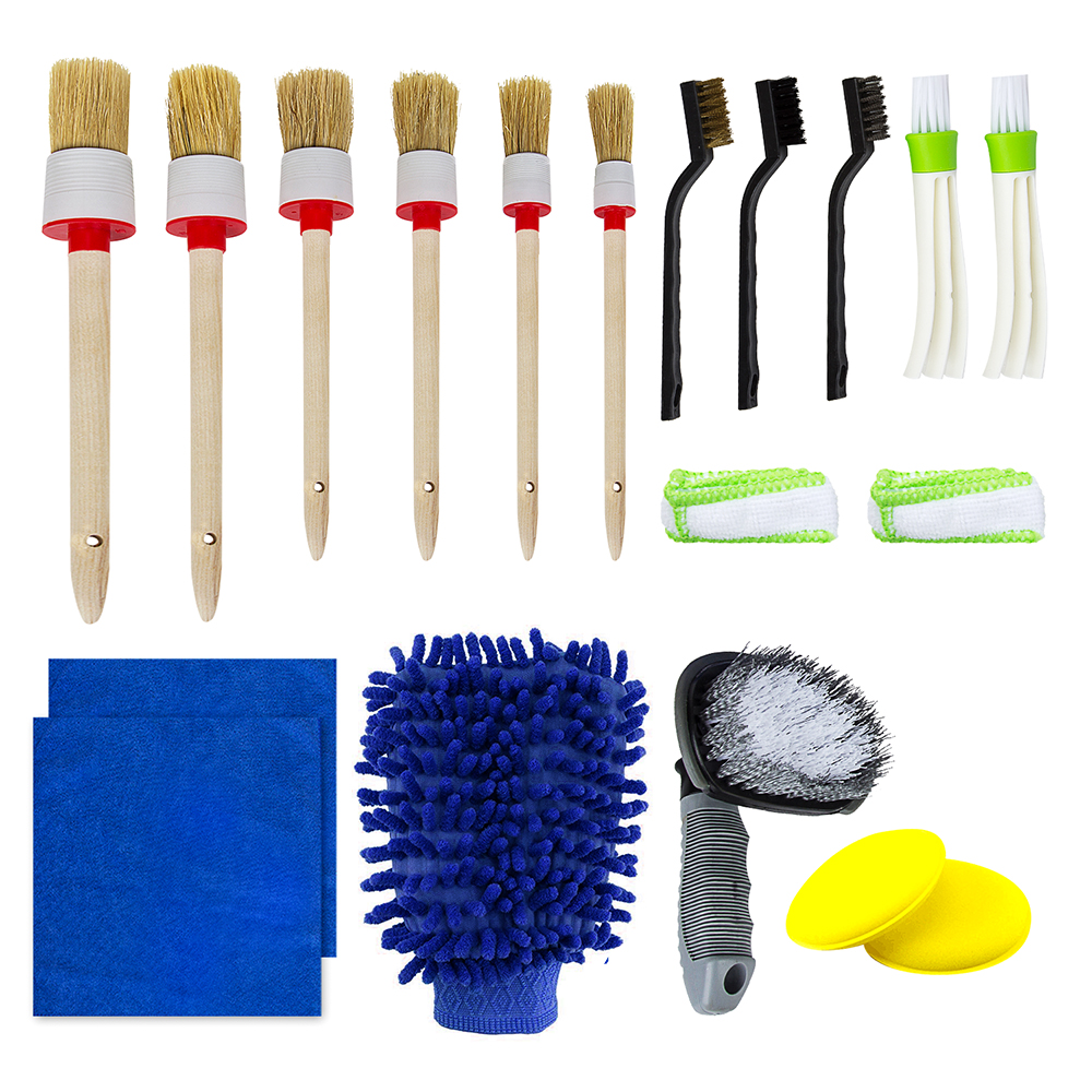 Auto Detailing Brush Car Cleaner Brush Set for Cleaning Wheels Exterior etc Dash Brush Set Including 5pcs Natural Boar Hair Premium Detail Brush and 1 Microfiber Car Cloth Engine Interior