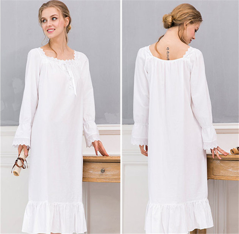 ea762c9cec5 Soft Cotton Sleepwear Women Vintage Home Wear Night Dress Plus Size Plain  Long Nightgown Sleepshirt Ladies Nightwear Robe T404 -in Nightgowns    Sleepshirts ...