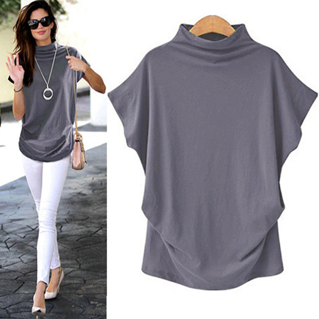 Turtleneck Short Sleeve Cotton girl Solid Casual Blouse Top Shirt female Plus Size Solid girl clothing