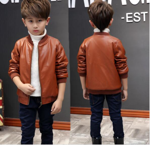 2018 autumn children'clothes boys jackets solid long sleeve PU leather boy zipper jackets for boys big kids jacket outerwears casual long sleeve embroidered faux leather jacket for boy