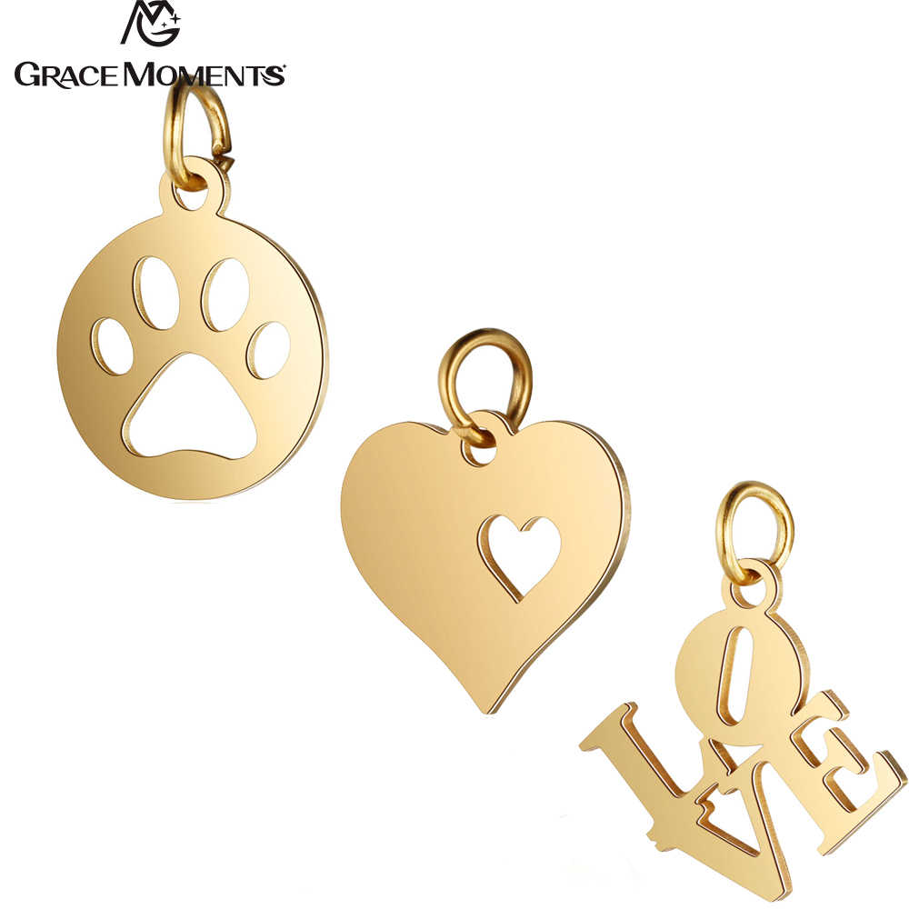 5pcs/Lot 316L Stainless Steel Charms Gold Color Hollow Animal Paw Heart Love Charms Pendants for Jewelry Making DIY Handmade