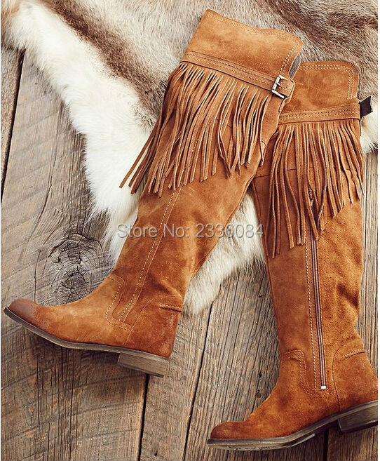 2017 Hot autumn winter women brown flats heel thigh high suede boots elastic slim long boots lowland tassel boots