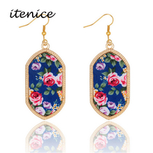 Itenice 2016 New Fashion Jewelry Trendy Plant Flower Acrylic Famous Designer Drop Earring Gold Silver Plated For Women