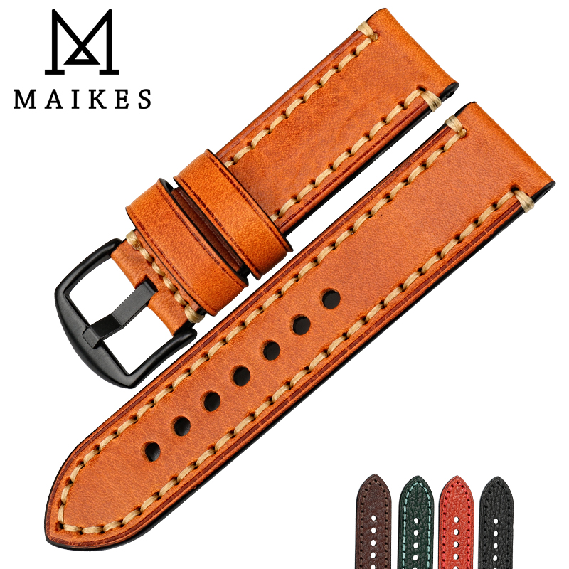 MAIKES Watch Accessories Watch Band For PANERAI FOSSIL Genuine Leather Strap Brown 20 22 24 26mm Watchband Bracelet