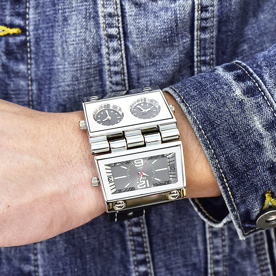 New Men Dual Display Sports Watches Oulm Men Watch Big Size Fashion Outdoor Clock PU Leather Quartz Watch Relogio Masculino