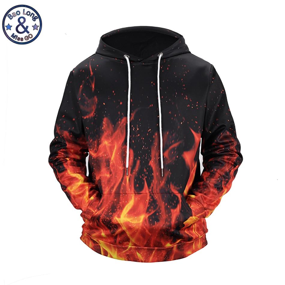 Mr.BaoLong brand fashion Beautiful Burning flame 3D printed hooded hoodies mens drawstring hoodies pullover sweatshirt H107
