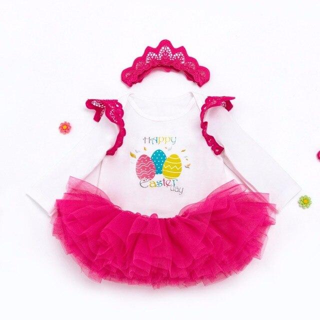 a46405bd333c Paskalya Günü Bebek Kız Bebek 2 adet Giyim Setleri Takım Prenses Tutu Romper  Elbise Tulum