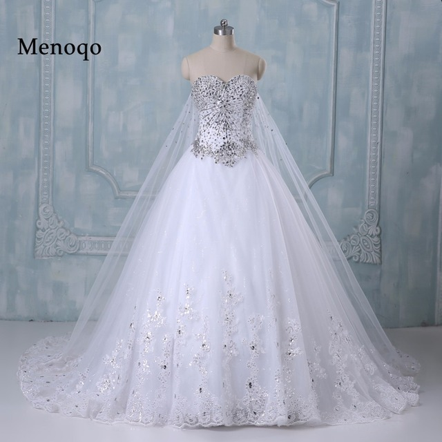 Romantic Wedding Dress Princess Bride Dress Strapless Floor Length ...