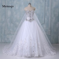 Romantic Wedding Dress Princess Bride Dress Strapless Floor Length Diamond Lace Wedding Dresses Vestido De Novia