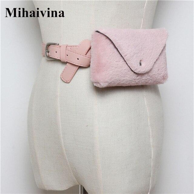 Mihaivina Fashion Women Waist Bags Faux Fur Fanny Packs Casual Plush Female Waist Pack Fit Iphone Plus Detachable Women Belt Bag