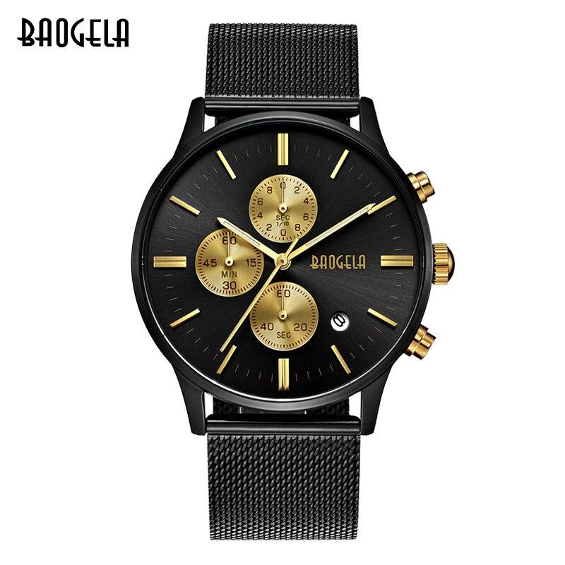 BAOGELA reloj impermeable de los hombres, cuarzo analógico relojes oro negro con malla de acero inoxidable, cronógrafo fecha 1611
