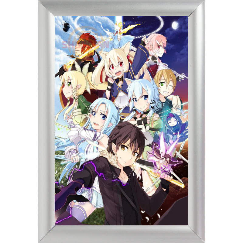 silver color aluminum alloy picture frame home decor custom canvas frame sword art online canvas poster