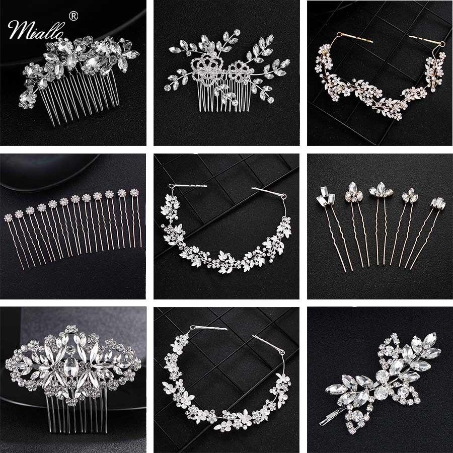 Miallo Fashion Rhinestone Headpiece Wedding Bridal Hair Accessories Austrian Crystal Hairpins Women Hair Pins Clips Jewelry